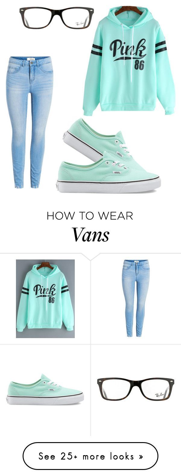 """Pink"" by luvlymii on Polyvore featuring Vans and Ray-Ban"