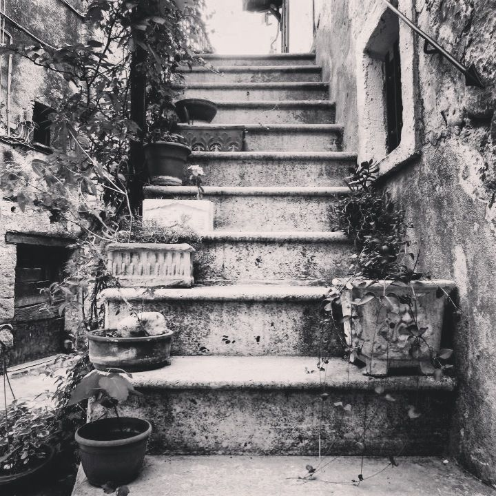 #old #stairs in #calcata #black and #white