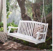 Wonderful Outdoor Porch Swing Bench WHITE Hardwood 4 Ft Slat Curved Back Patio  Loveseat