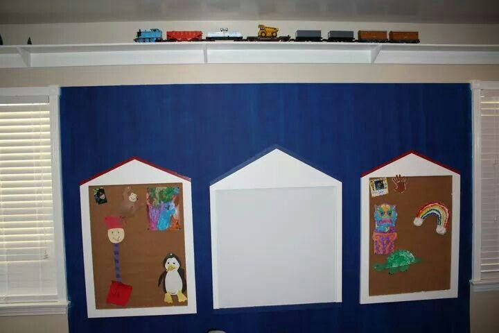 """I built these two bulletin boards and one dry erase board using 3/4"""" MDF. I seen them at Pottery Barn and decided to build them for my kids. I also built a train track platform around the room. Notice the train going around the top of the room."""
