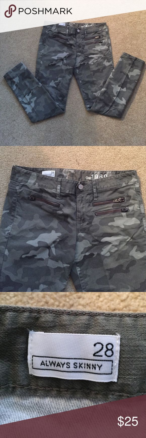 Gap Army Fatigue Skinny Jeans Camouflage jeans worn twice! Size 28 skinny. No front pockets - instead there are 3 zippers (shown in photos). GAP Jeans Skinny