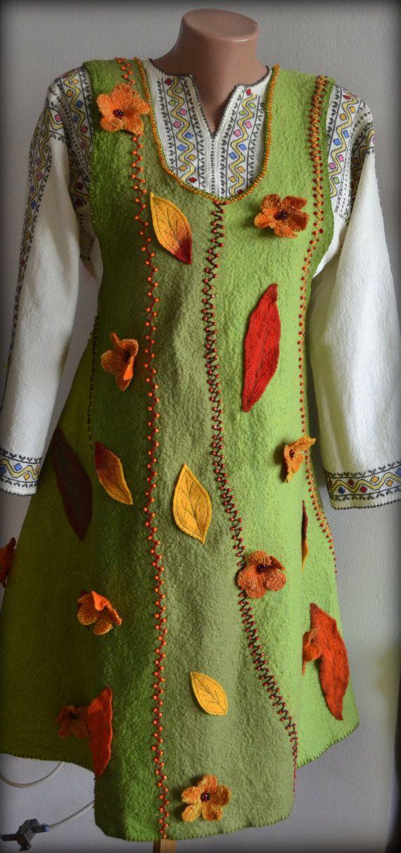 Nuno felt dress Nuno felted dress Wool dress Felted by Gariana