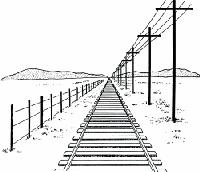 Tekenen met perspectief, voorbeeld spoor