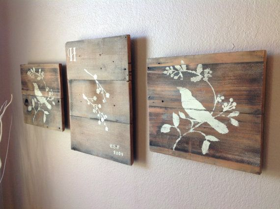 Reclaimed wood wall art set of 3 by DelHutsonDesigns on Etsy, $65.00