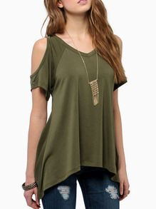 Camiseta hombro abierto casual -verde Más