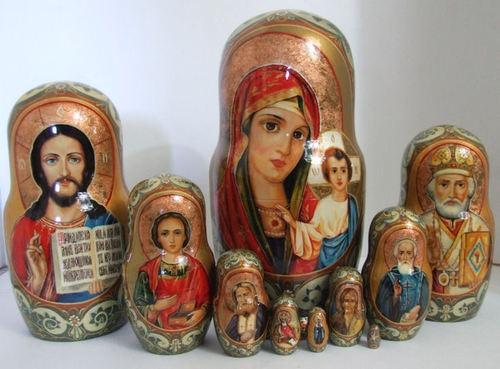 "Handpainted One of A KIND10PCS Russian Nesting Doll ""Religous Saints"" by Dolgova | eBay"