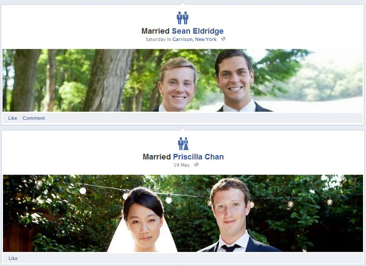 Facebook - The icon for marriages is automatically based on the genders of those involved.    Nice touch, Facebook.  /via Sam