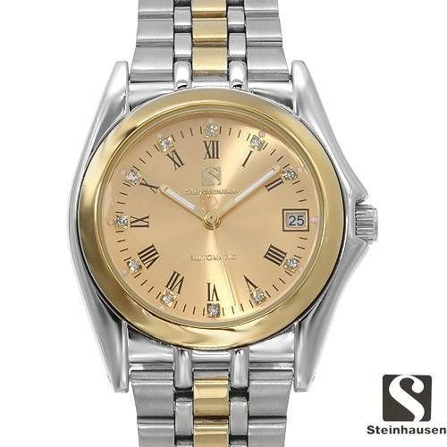 Steinhausen TW8429SGG Men's Automatic Watch Gold Dial w/ Diamonds Stainless Steel