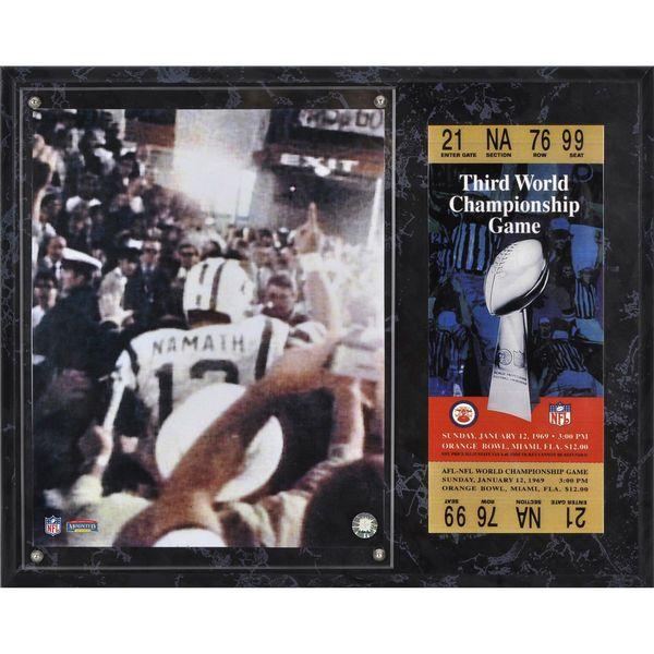 "Joe Namath New York Jets Fanatics Authentic 12"" x 15"" Super Bowl III Sublimated Plaque with Replica Ticket - $39.99"