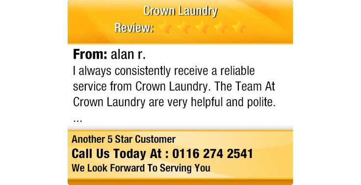 I always consistently receive a reliable service from Crown Laundry. The Team At Crown...