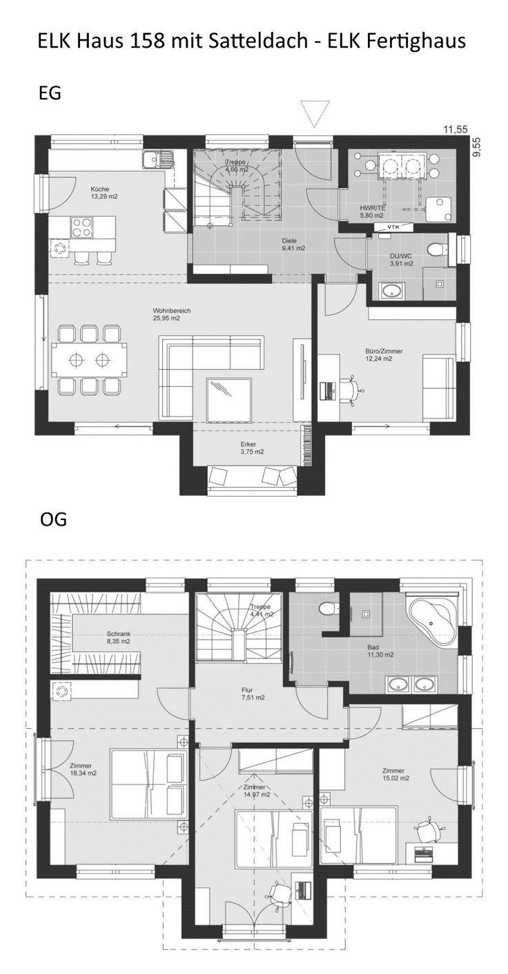 Grundriss Einfamilienhaus Neubau modern mit Satteldach Baustil im Landhausst…