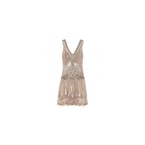 Jigsaw, Flapper Dress, 325, Jigsaw ❤ liked on Polyvore featuring dresses, vestido, flapper inspired dress, gatsby dress, brown dresses, flapper style dresses and flapper dresses