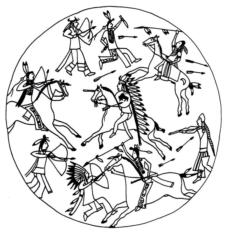 battle scene between sioux and blackfeet indians - Native American Coloring Book