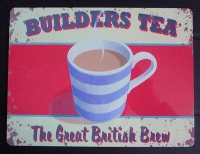 'BUILDERS TEA' | Metal sign with image of a Cornishware-style mug     ✫ღ⊰n