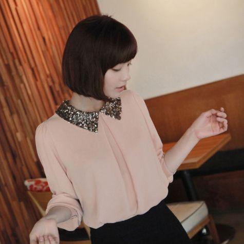 Mulheres menina manga puff sheer vintage lantejoulas gola peter pan loose tops camisa blusa # l034733