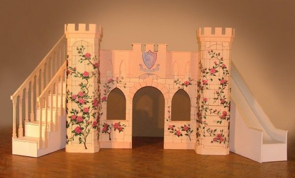 Your little princess or prince will love this custom made unique theme bed, the Girls Princess Playhouse Deluxe Castle loft bed combines sleeping quarters, a playhouse castle loft Bed - with Slide custom built staircase with drawers and storage all in one. by lelia
