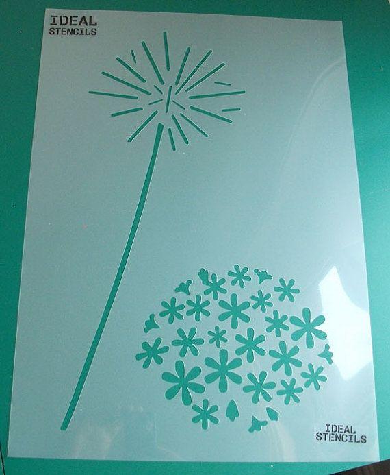 Allium fleur pochoir pochoir Floral mur pochoirs par IdealStencils