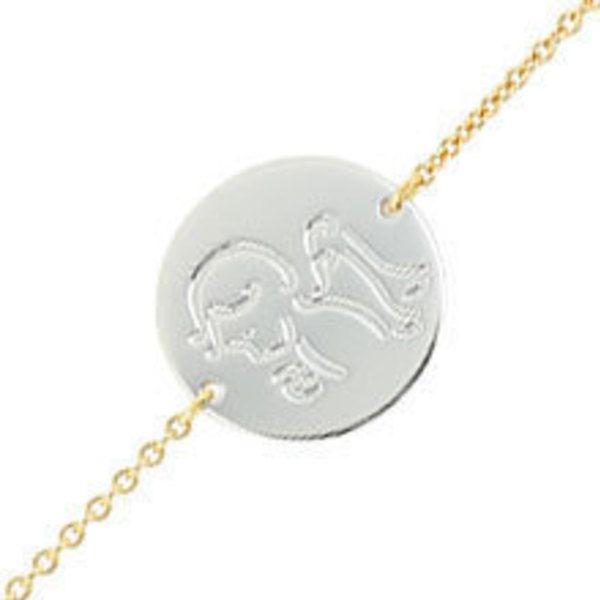 Gourmette bébé médaille ange (or jaune et blanc 18ct) (PremierBijou) sur PremierCadeau.com
