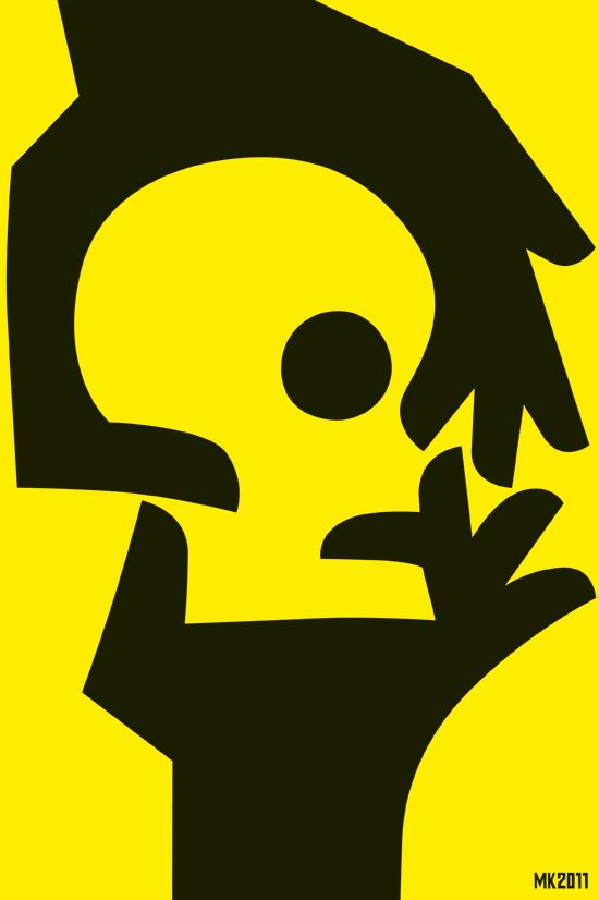 this uses the negative space between hands to create the shape of a skullperson