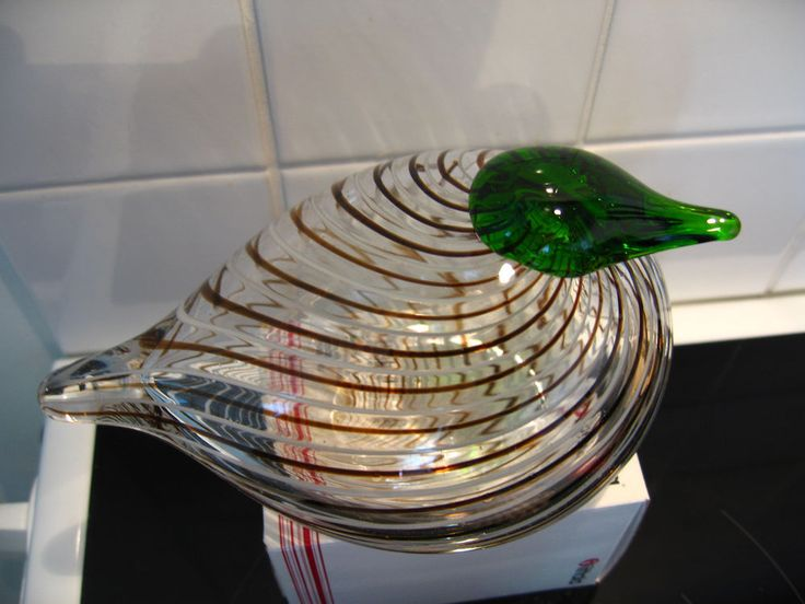 Oiva Toikka Art glass bird, VERY RARE filigree bird, Iittala Nuutajärvi Finland!