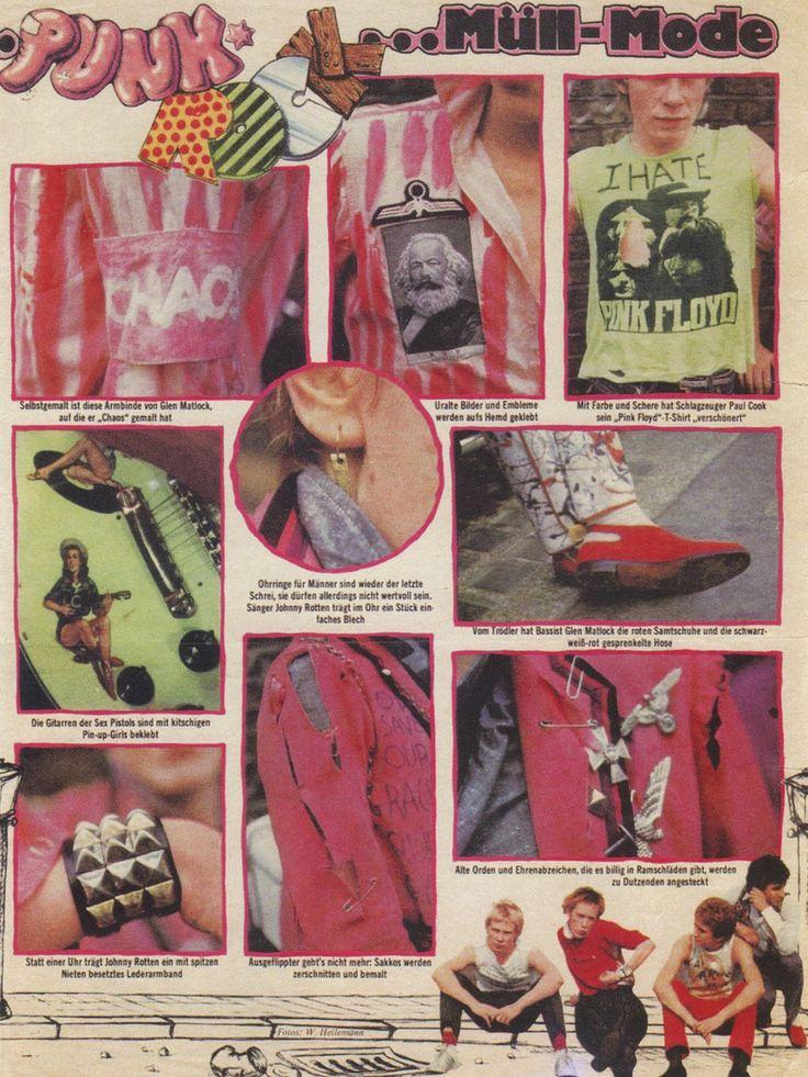 Sex Pistols fashion spread from a German magazine, 1976