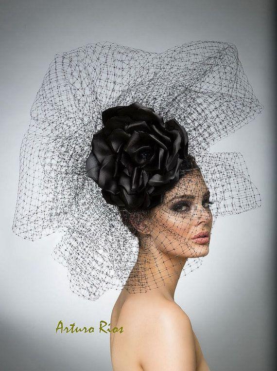 Black couture Headpiece, Avant garde hat, Haute Couture hat, High Fashion hat.