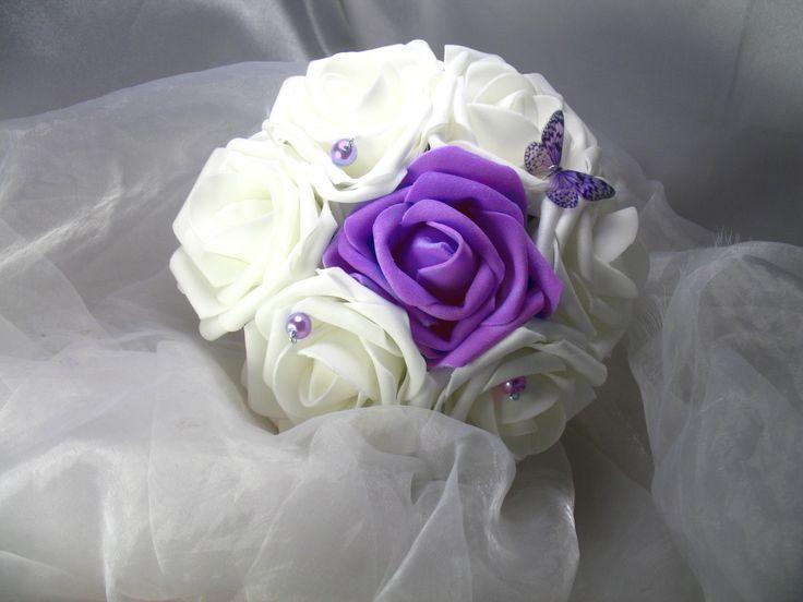 Bouquet de demoiselle d'honneur personnalisable fleurs artificielles La demoiselle blanche et lilas : Autres accessoires par les-secrets-d-alena