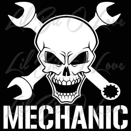 Mechanic skull 2 with wrenches vinyl decal with hammer and nail