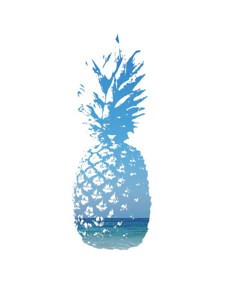 Pineapple Wall Art Blue Pineapple Pineapple by MelindaWoodDesigns