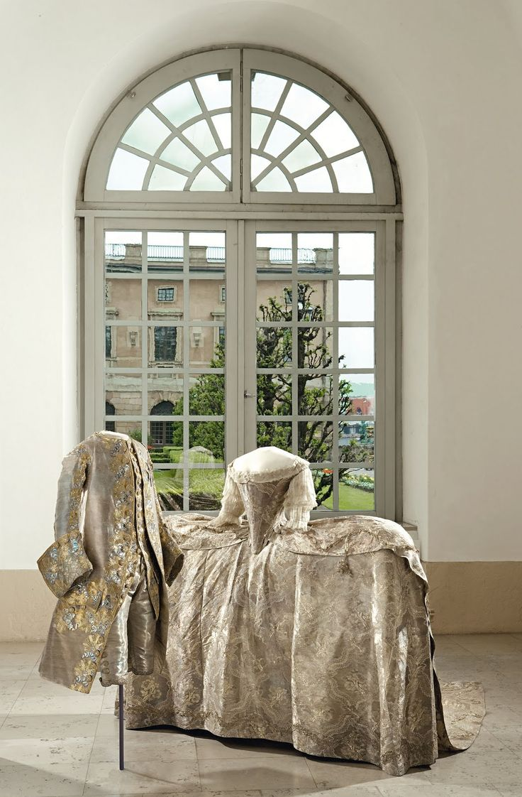 Sofia Magdalena's wedding gown, robe de cour, worn at the wedding at the Palace Church November 4, 1766 and Wedding robe of King Gustave III of Sweden (1746-1792)