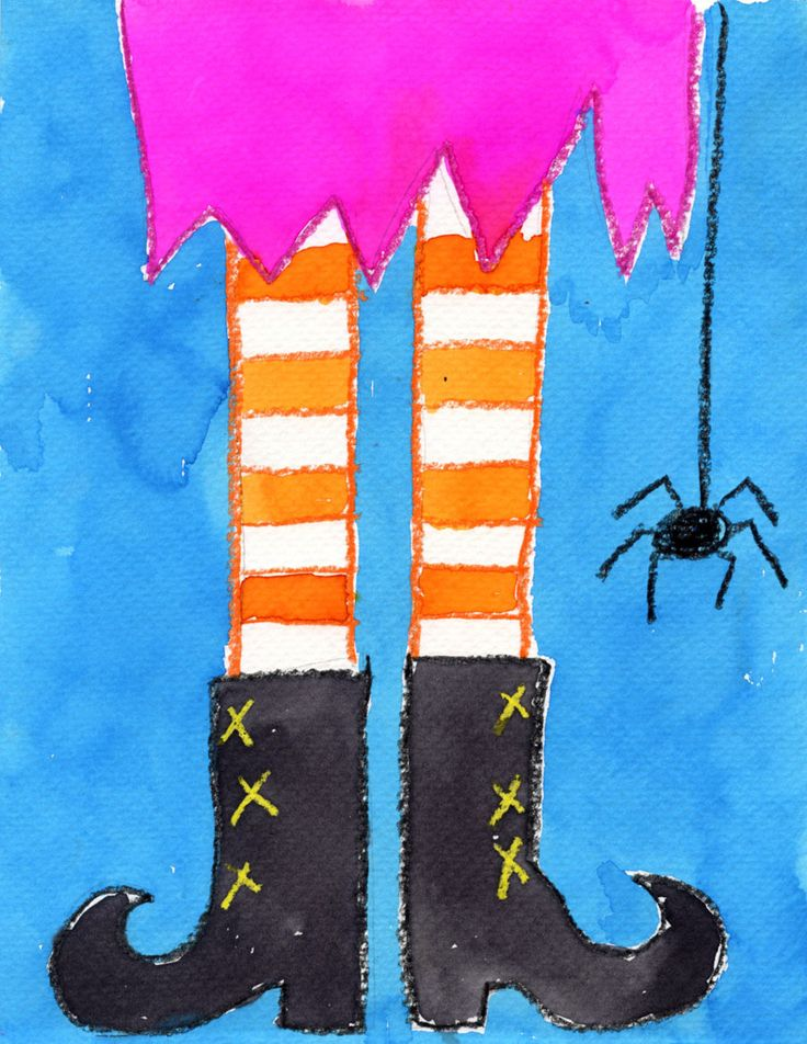 Symmetry Art Project: Funky Witch Feet with oil pastels and water colors