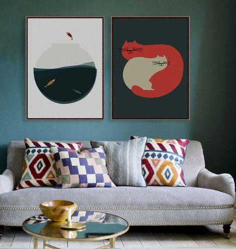 Kitten-Fish Bowl Wall Print