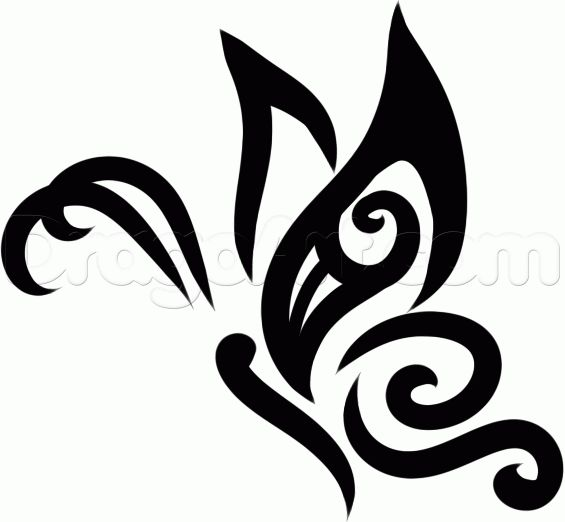how to draw a tribal butterfly tattoo step 7