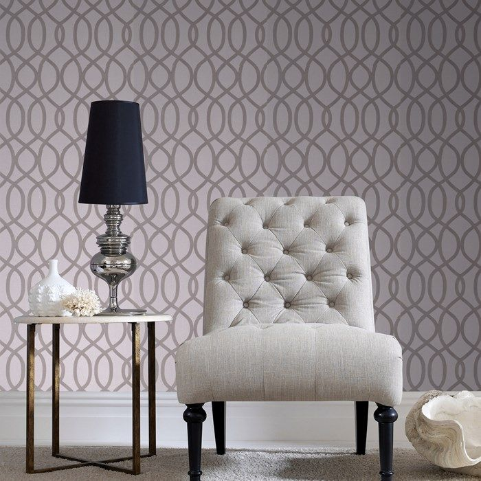 Knightsbridge Flock Pale Grey Wallpaper by Graham and Brown