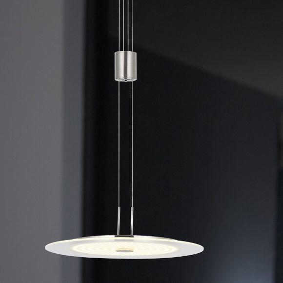 Moderne LED-Pendelleuchte - Höhenverstellbar - Nickel matt und Chrom - Inklusive LED 21,6 Watt  1800 Lumen