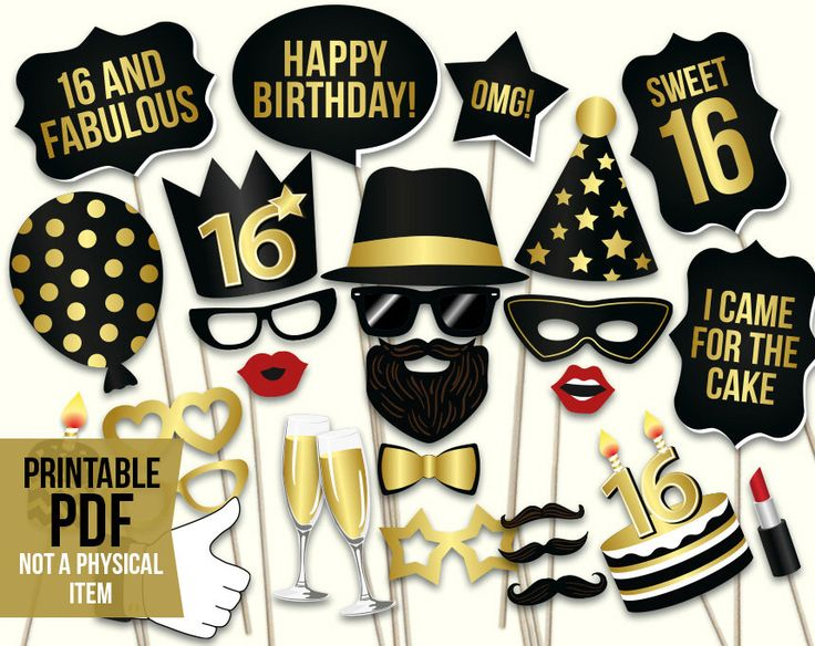 Sweet 16 photo booth props: printable PDF. Sweet sixteenth birthday props. Black and gold teenage birthday party selfie station photo props by HatAcrobat on Etsy https://www.etsy.com/listing/475585283/sweet-16-photo-booth-props-printable-pdf