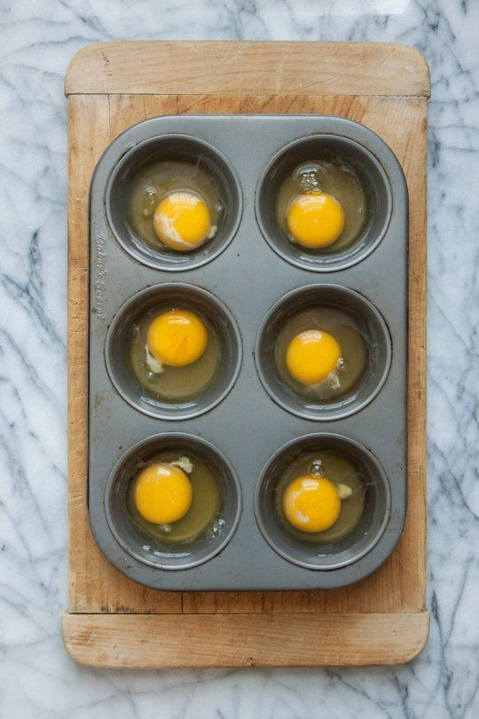 Can You Really Make Poached Eggs in the Oven? — The Kitchn: Great tip in the comments -- poach the eggs, loosen edges with a knife, top with warm Canadian bacon, then a toasted English muffin. Put a tray over the top, then flip the whole thing. Top each egg with hollandaise sauce and serve everyone at once. Brilliant!!