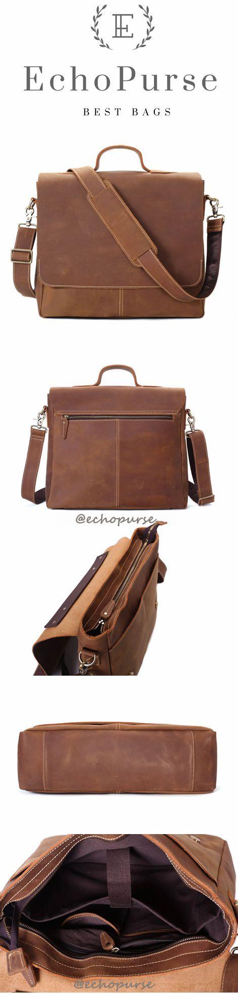 Vintage Brown Leather Messenger Bags, Leather Briefcase, Shoulder Bags For Men 7108