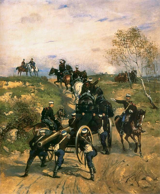 Tadeusz Ajdukiewicz: Artyleria konna austriacka 1882. Olej na płótnie. 77 x 65 cm.  Muzeum Okręgowe w Lublinie.
