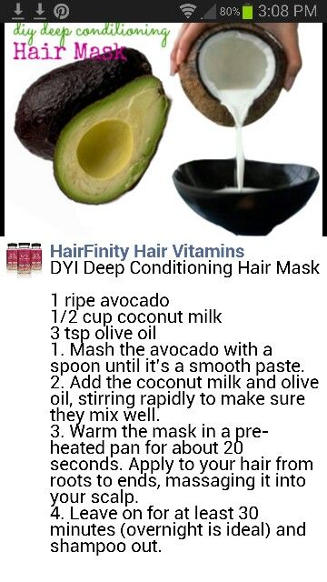 Avocado coconut milk mask-make sure to rinse avo out properly!