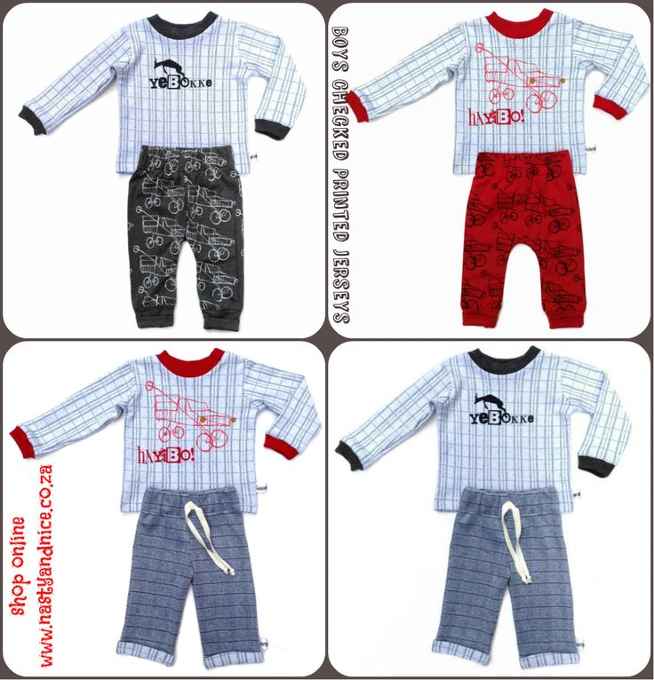 Boys Printed Checked Jersey and Mix & Match Pants. shop online at www.nastyandnice.co.za