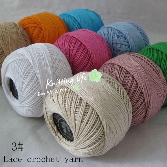 Высокое качество 3 # хлопчатобумажной пряжи для вязания, 6 шаров 300 г/пакет, 2.0 - 2.5 мм крючки