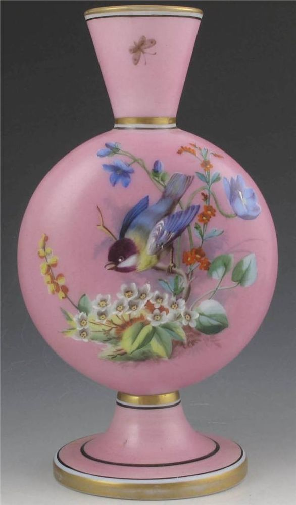 VICTORIAN PINK BRISTOL OR FRENCH OPALINE GLASS VASE, BIRD ...