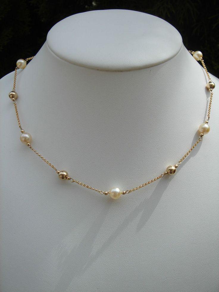 Goldkette, 585 Goldfilled mit echten Akoya-Zuchtperlen, Einfach elegant!
