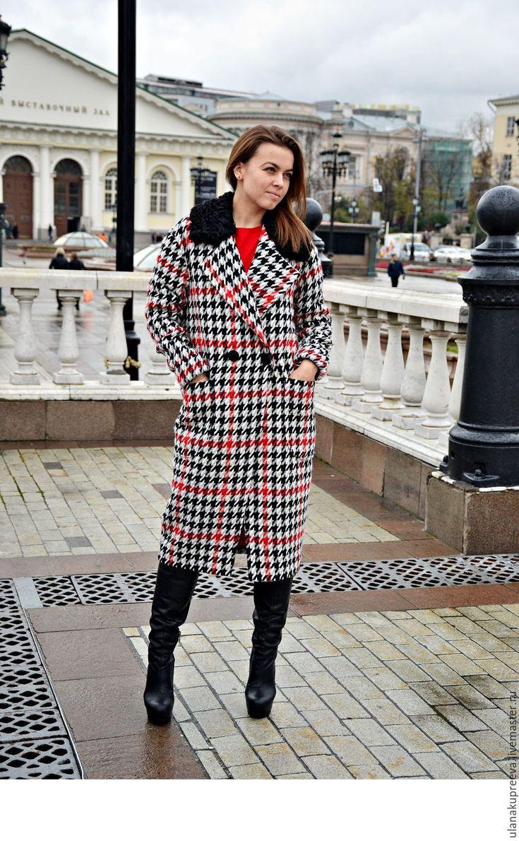 Купить Пальто зимнее смеховым воротником. пье-де-пуль (воротник из каракуля) - пальто