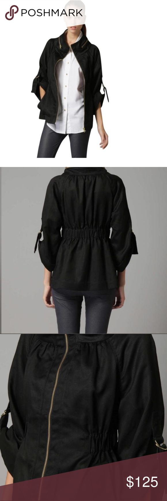 French Connection Underground Twill Jacket Perfect go-to jacket with its elastic band and hidden hood. Three quarter sleeves when drawn up, but can also be worn long sleeve. French Connection Jackets & Coats