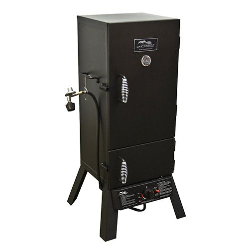 Masterbuilt two-door propane #smoker: This gasser has quite the following for such an inexpensive cooker. The lower door to the firebox allows you to add smoke without disturbing the temperature in the cooking chamber. Check out reviews of this popular #barbecue smoker and see what it can do. More info: http://grillsmokebbq.com/best-barbecue-smokers/