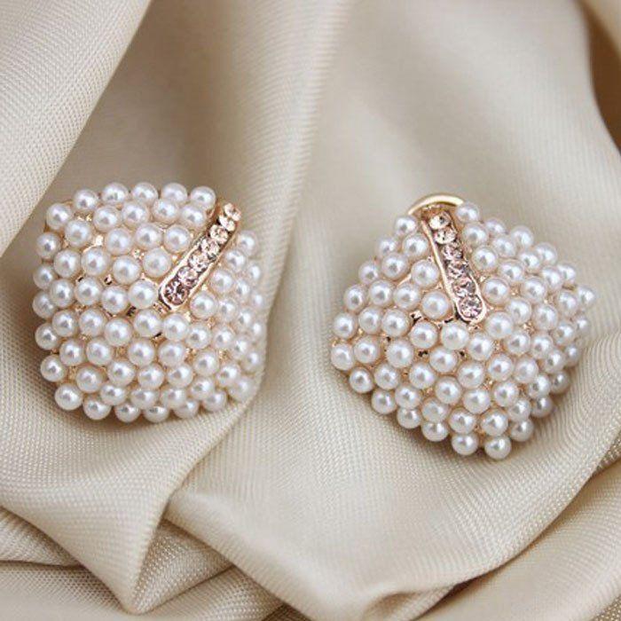ExquisiteFashion OL Style Women Stud Earrings Pearl Rhombus Crystal Rhinestone #LSN