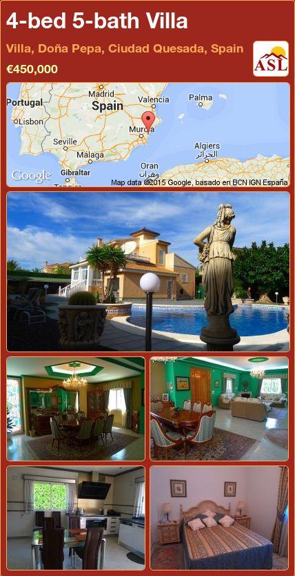 4-bed 5-bath Villa in Villa, Doña Pepa, Ciudad Quesada, Spain ►€450,000 #PropertyForSaleInSpain