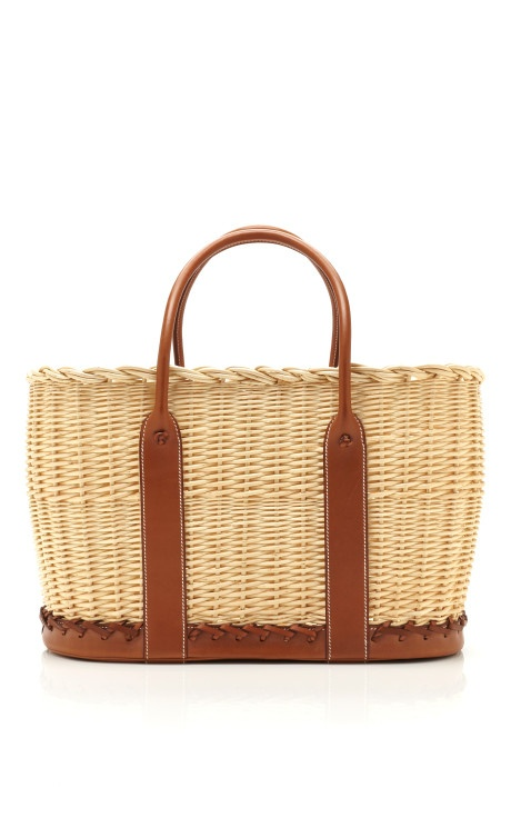 Picnic basket with natural barenia leather by Hermes